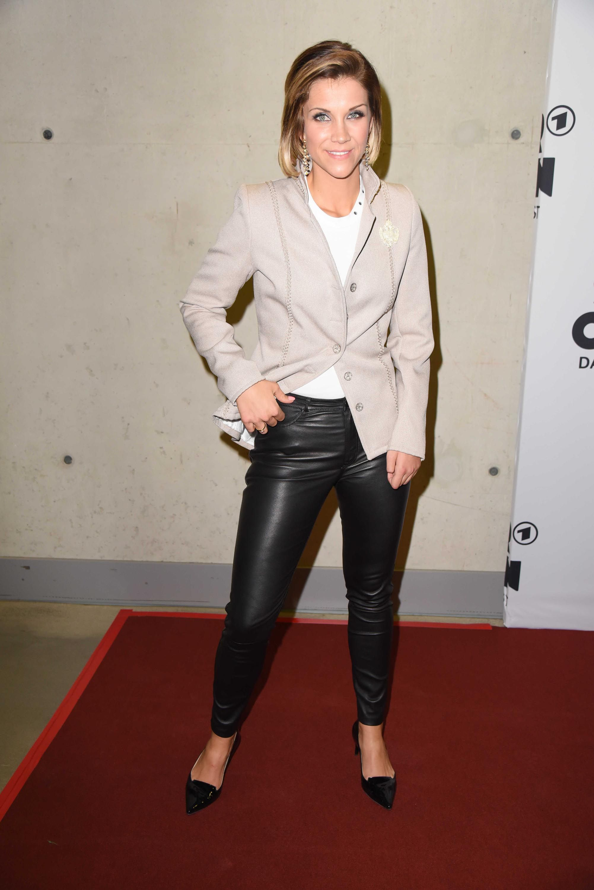Anna Maria Zimmermann Attends The Schlagercoutdown Black Leather Pants Leather Pants Pants