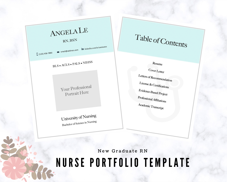 New Grad Nurse Portfolio Template, Registered Nurse