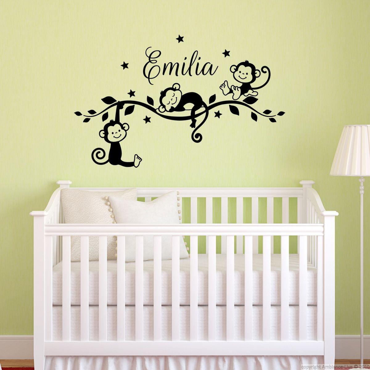 sticker pr nom personnalis singes jungle galerie stickers enfants pr noms kids name decals. Black Bedroom Furniture Sets. Home Design Ideas