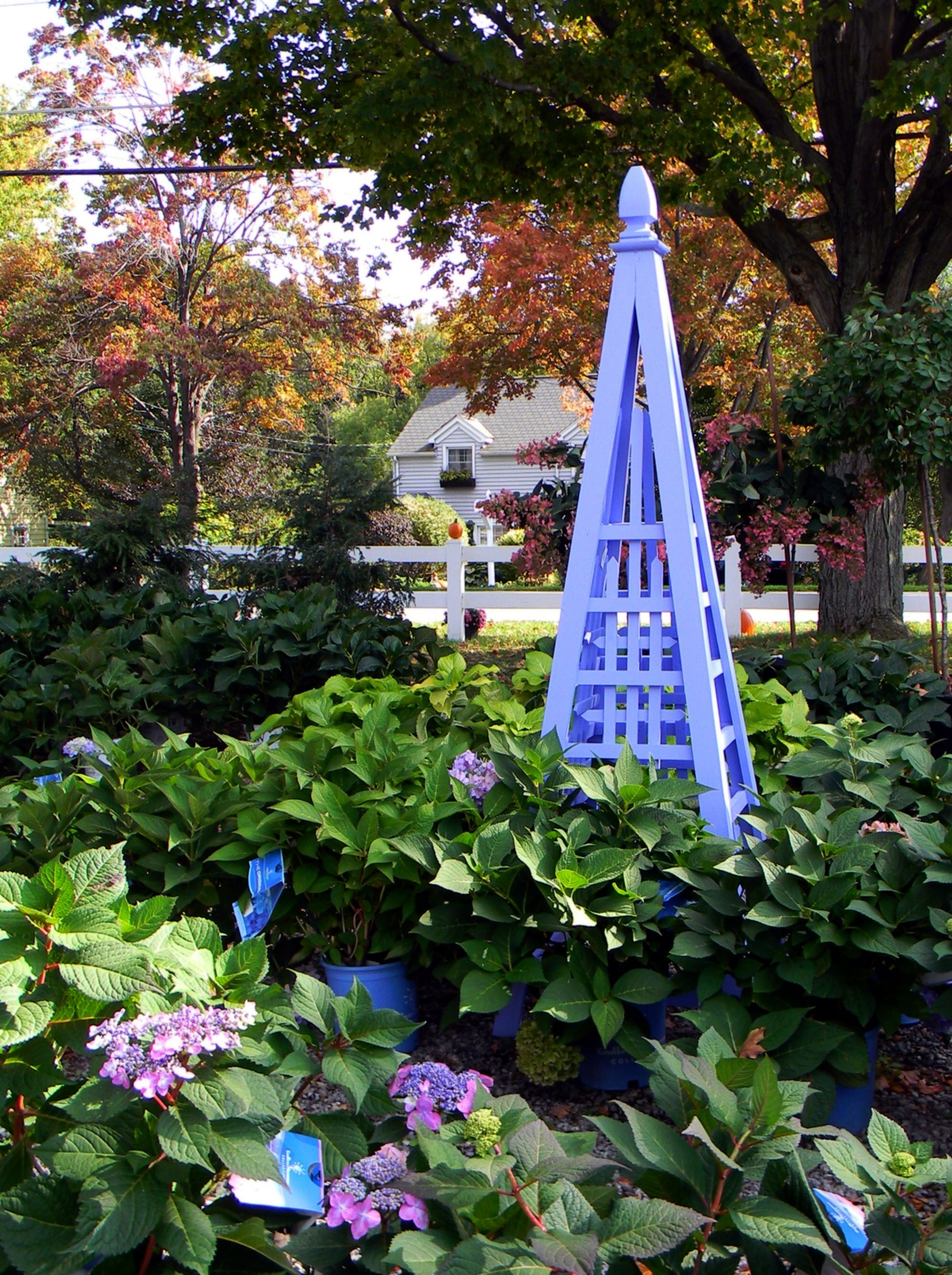 "6' garden obelisk, painted in ""hydrangea"""
