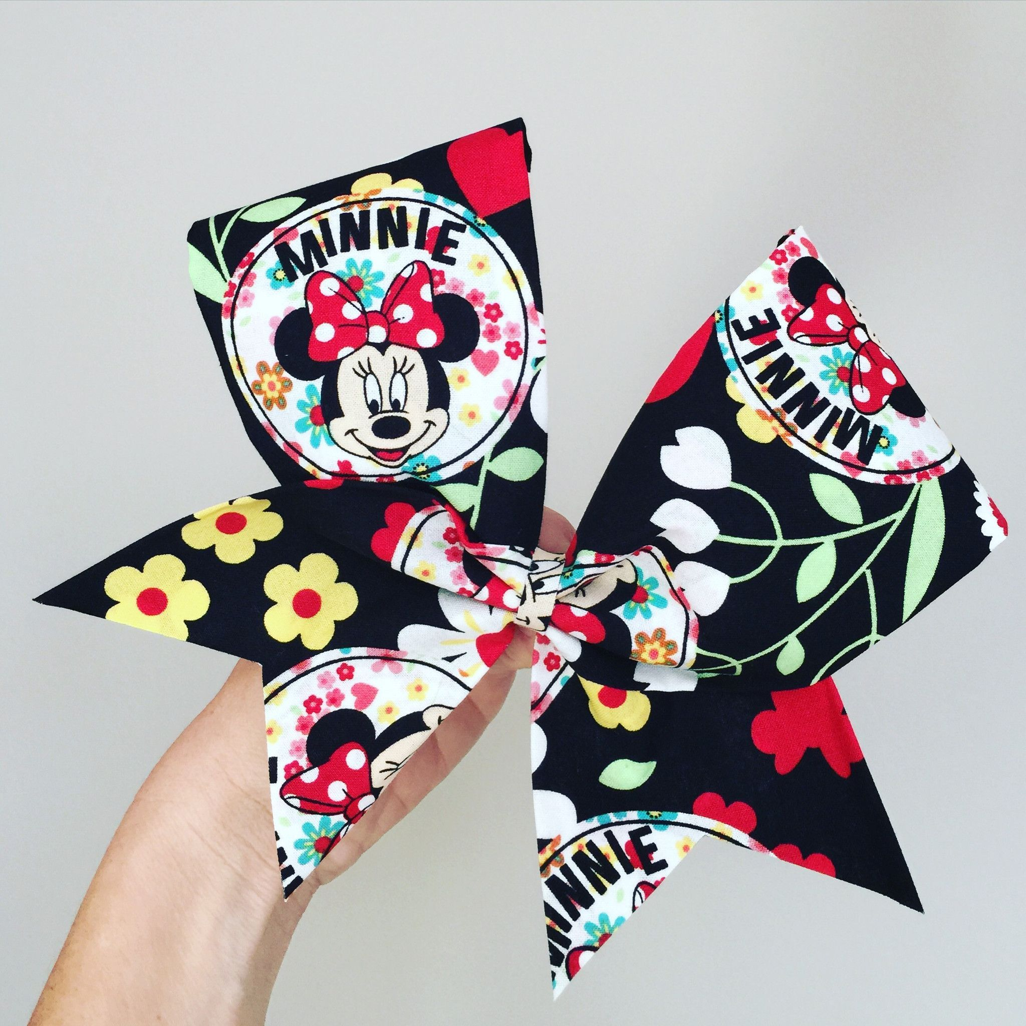 Minnie mouse floral cheer bow fabric hair bow ears cheer bows