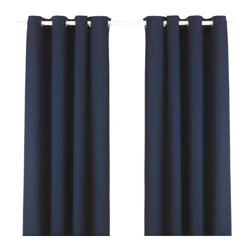 MERETE Cortina, 1par, azul El interior, Estancias y Ikea - cortinas azules