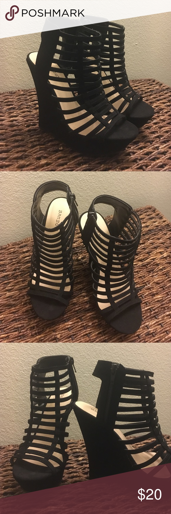 Caged Wedges Brand new, never been worn but no tags. Black suede wedges. About a 5 1/2 inch heel. Size 7. Shoes Wedges