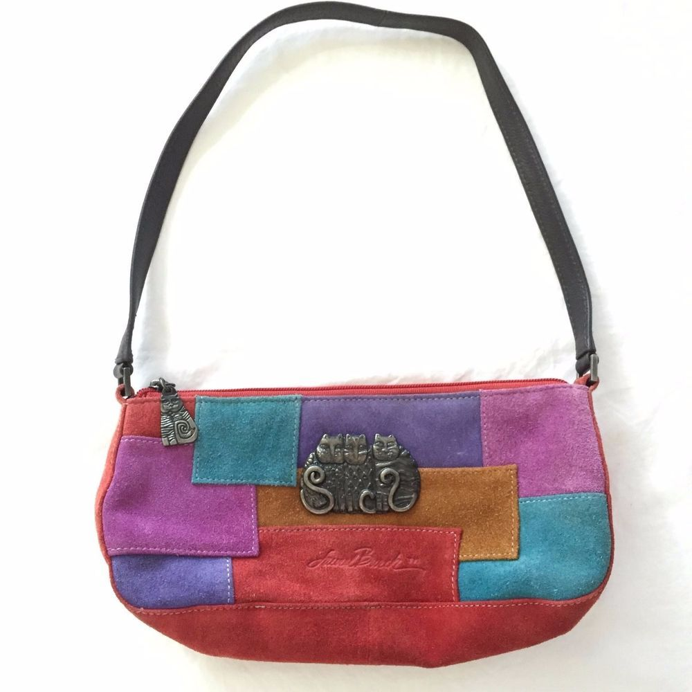 Laurel Burch Cats Purse Suede Patchwork Handbag Shoulder Bag Multicolor Sm  Hobo  LaurelBurch  ShoulderBag be27749ff62b4