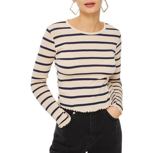 e2fe4004397c7 Women s Topshop Stripe Lettuce Hem Crop Top (€21) ❤ liked on Polyvore  featuring tops