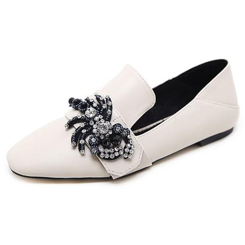 6ed71f91f Famous Brand Square toe Flat shoes slippers woman loafers beaded shoes  spider crystal low heel PU leather rhinestone shoes 2018
