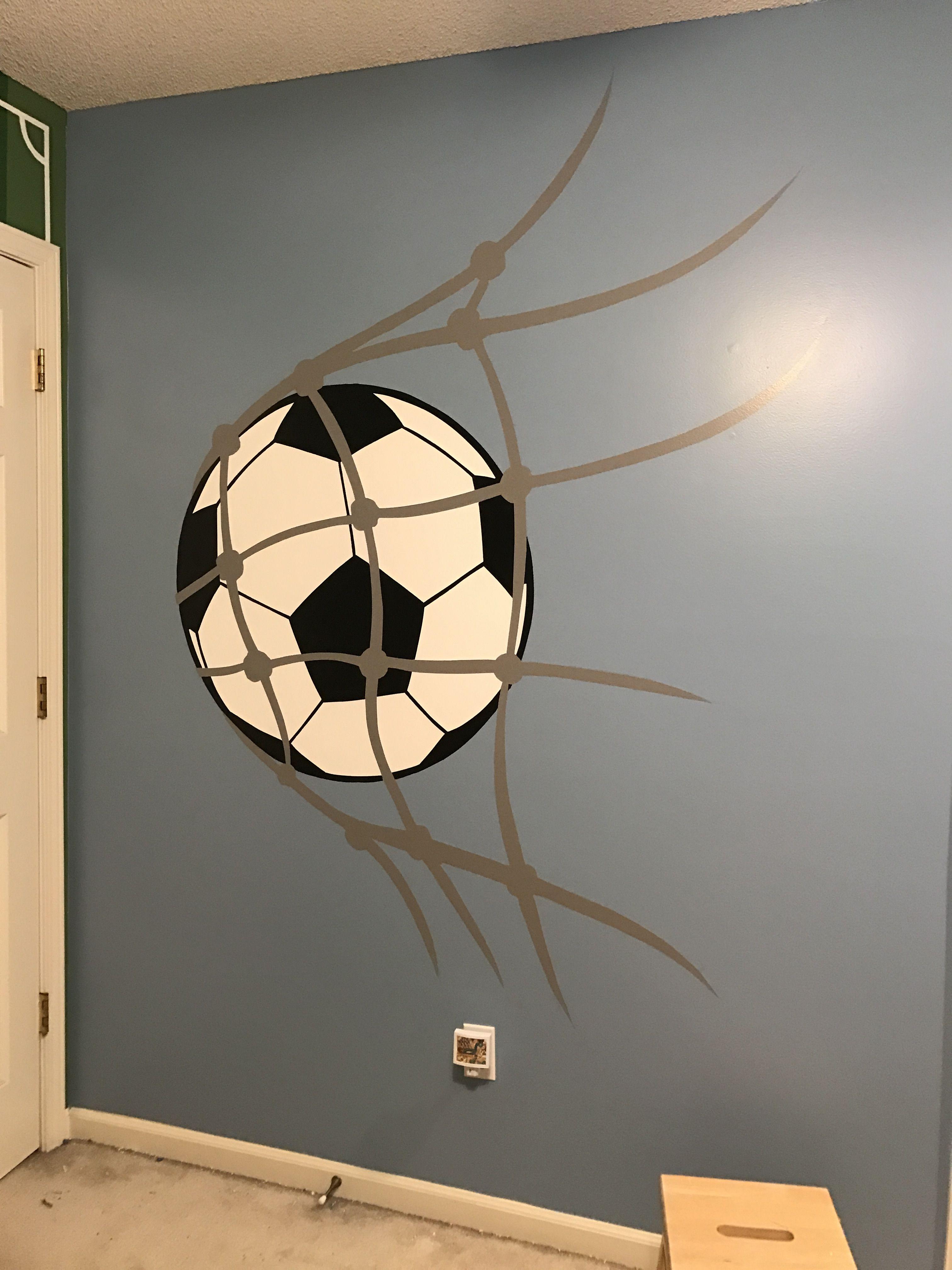 Soccer Room Designs: Soccer Ball Into A Net Bedroom Wall