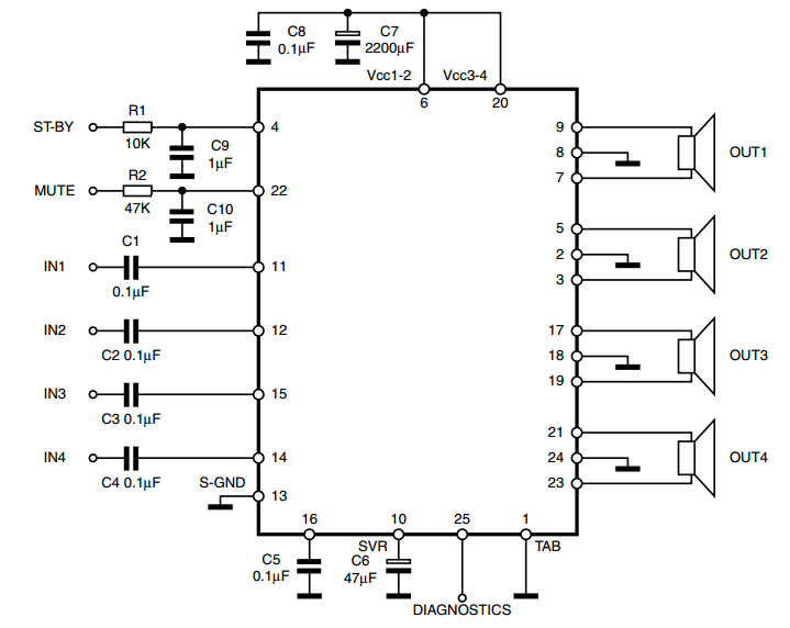 4x25 w quad bridge car radio amplifier tda7381 audio amplifier 4x25 w quad bridge car radio amplifier tda7381 audio amplifier circuits circuit designcircuit diagramaudio sciox Choice Image