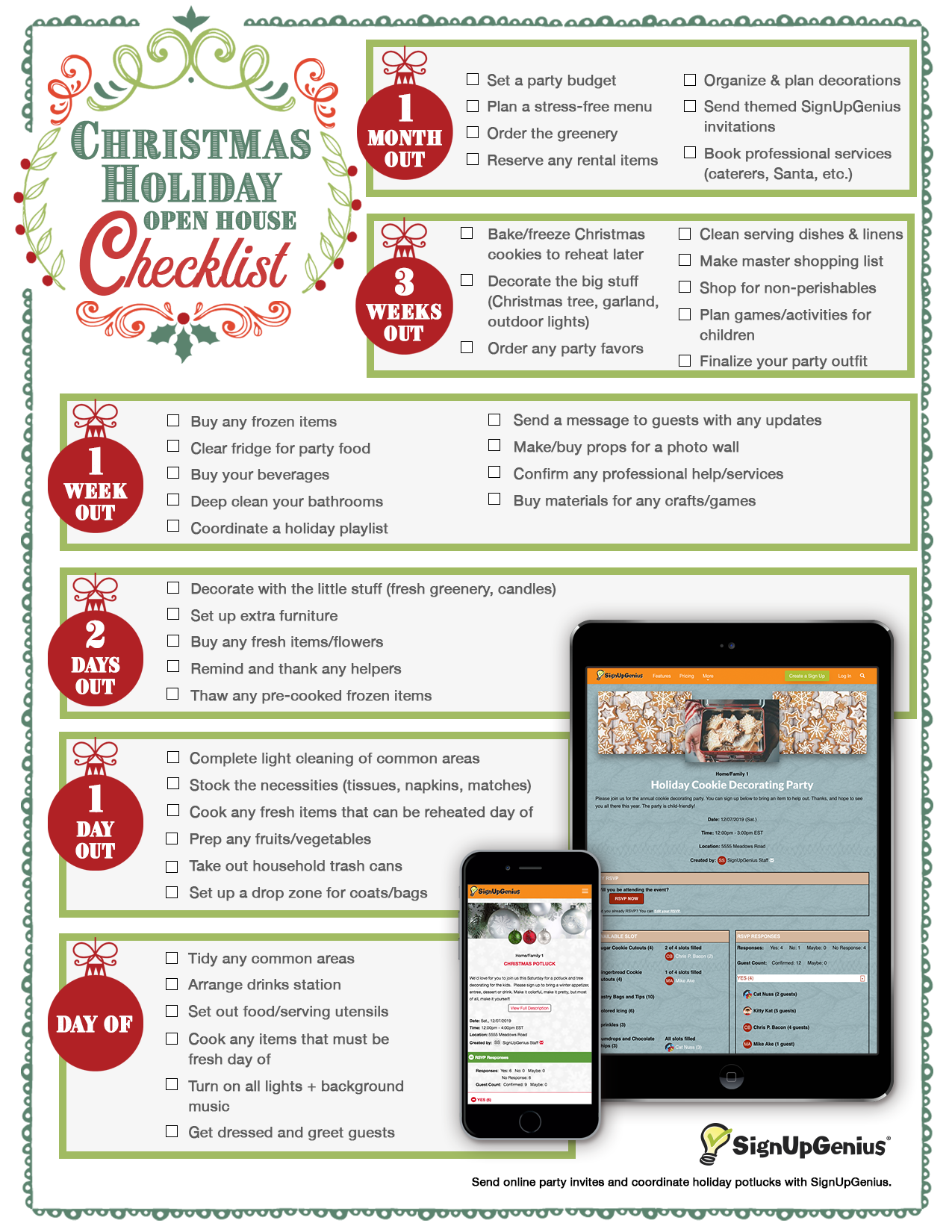 Free Printable Christmas Holiday Open House Checklist. Plan for ...