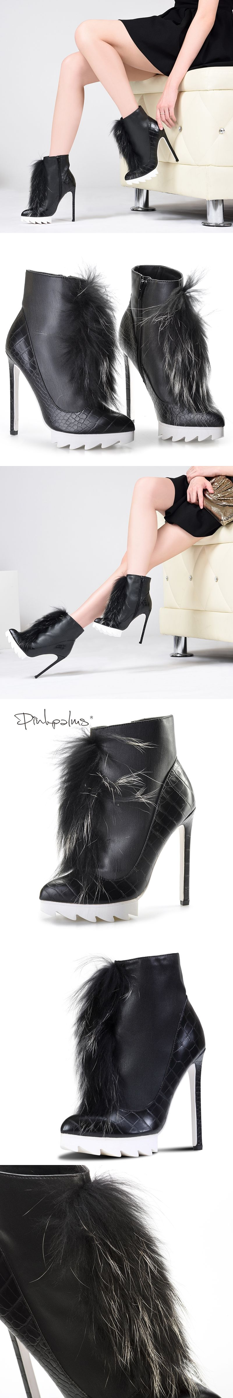 08a68d1f9d6 Brand Pink Palms high heels ankle boots for women winter snow boots with fox  fur thick