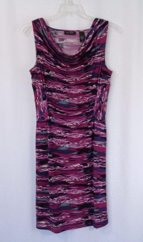 Womens AXCESS Watercolor Print Cowl Neck Empire Waist Stretch Knit Dress Size M #Axcess #Sheath #CasualWeartoWork