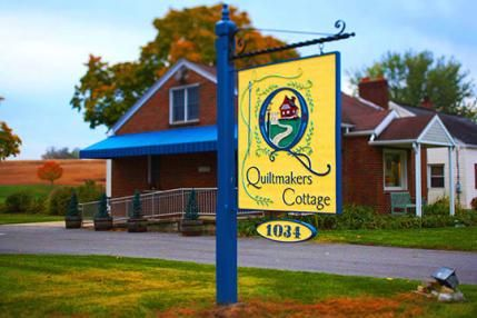 Hershey, Pennsylvania, is home to Quiltmakers Cottage—the sweetest of brick cottages brimming over with quilting fabrics, kits, patterns, and notions.
