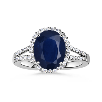 Angara Oval Blue Sapphire and Round Diamond Split Shank Ring in White Gold Yua6cZ2JGr