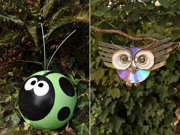 Beautiful Garden Junk Ideas Decoration Diy Bowling Ball Ladybug Owl Upcycling Old Cds