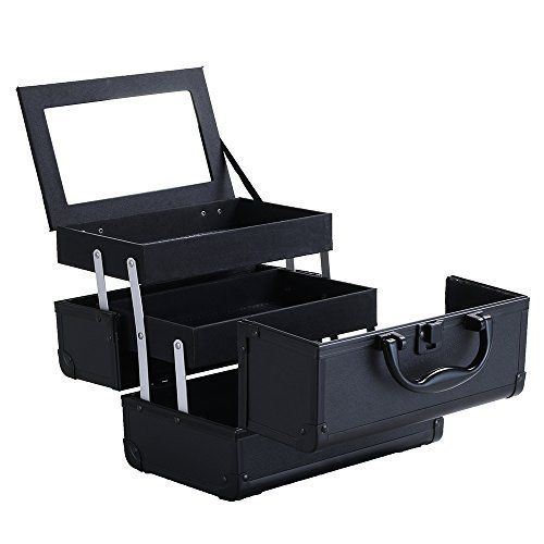 Greenmall Cosmetic Makeup Train Case with Mirror Cover Board (Black) ** Click on the image for additional details.