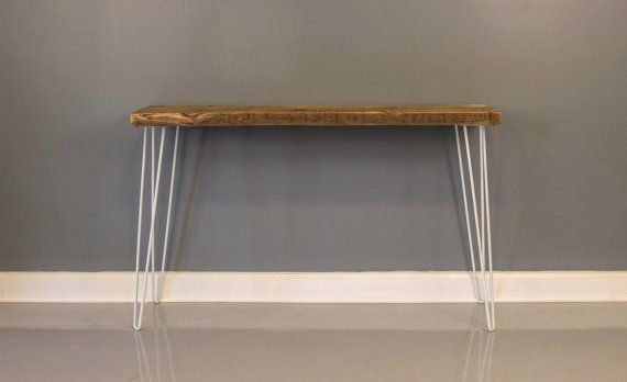 Console Table Reclaimed Wood W White Hairpin Legs Rustic Console Tables Small Console Tables Wood Console Table