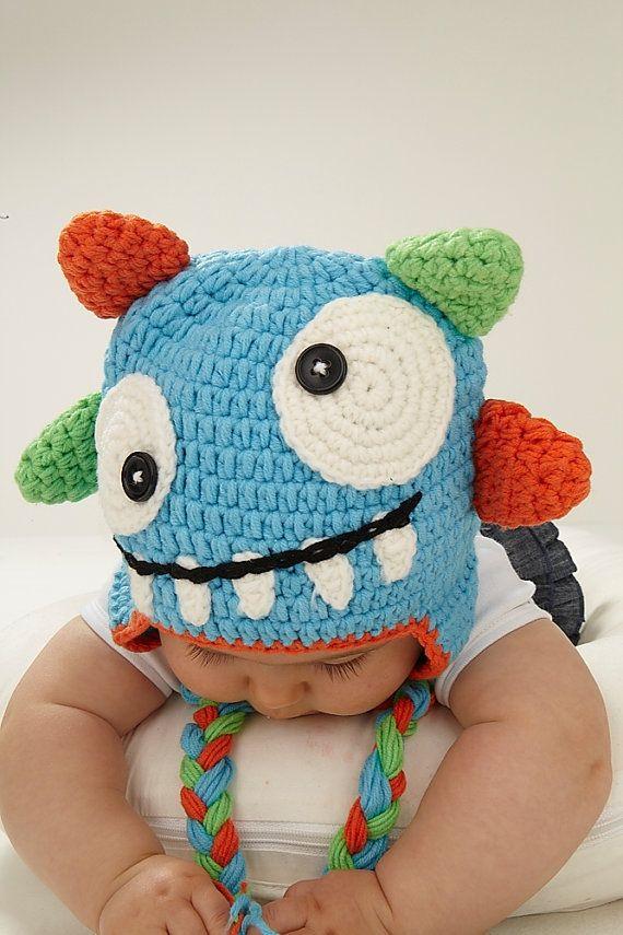 Gorro crochet mi monstruo | Crochet | Pinterest | Sombreros de ...