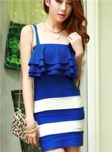Wonderful Striped Falbala Strapless Sheath Dress by dina.brown.102