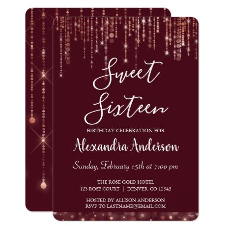 Burgundy Rose Gold Sweet Sixteen Birthday Invitation | Zazzle.com