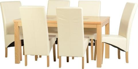 Oak Wooden Dining Table With 6 Cream Faux Leather Dining Chairs
