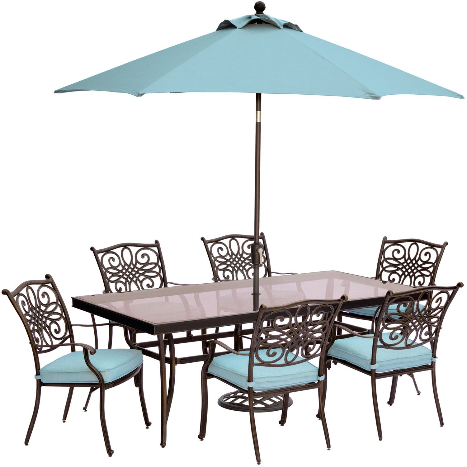 Hanover Traditions 7 Piece Dining Set In Blue With Extra Lar Dining Sets Modern Glass Top Dining Table Patio Dining Set