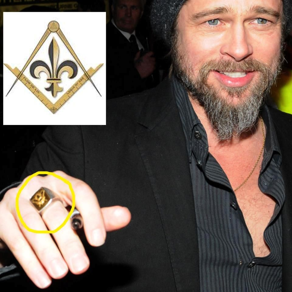 Brad pitt wearing masonic ring hand signs symbolism pinterest there all in on it brad pitt imagery masonic compass ring which represent one of the illuminati symbols hollywood is one of the many pieces of the biocorpaavc Gallery