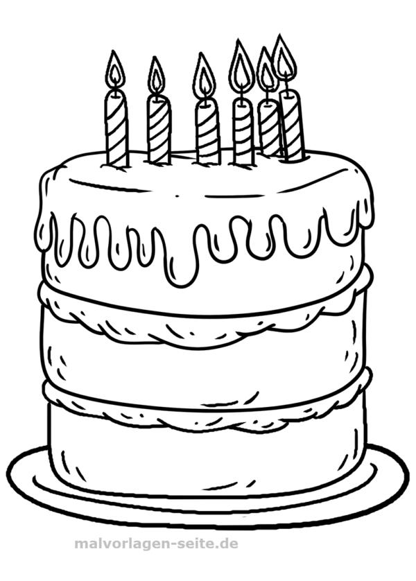 Malvorlage Geburtstagskuchen Feiertage - Kostenlose
