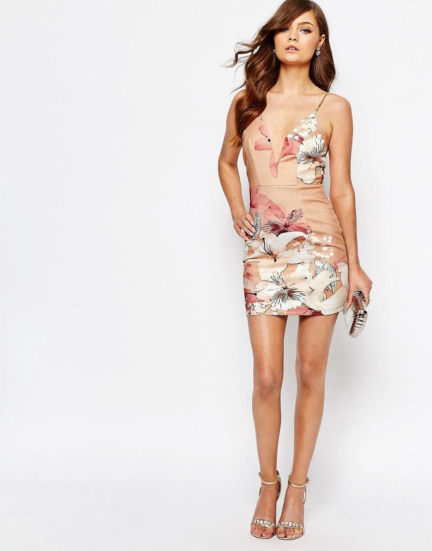 Image 4 of Ginger Fizz Plunge Bodycon Dress In Oversized Floral