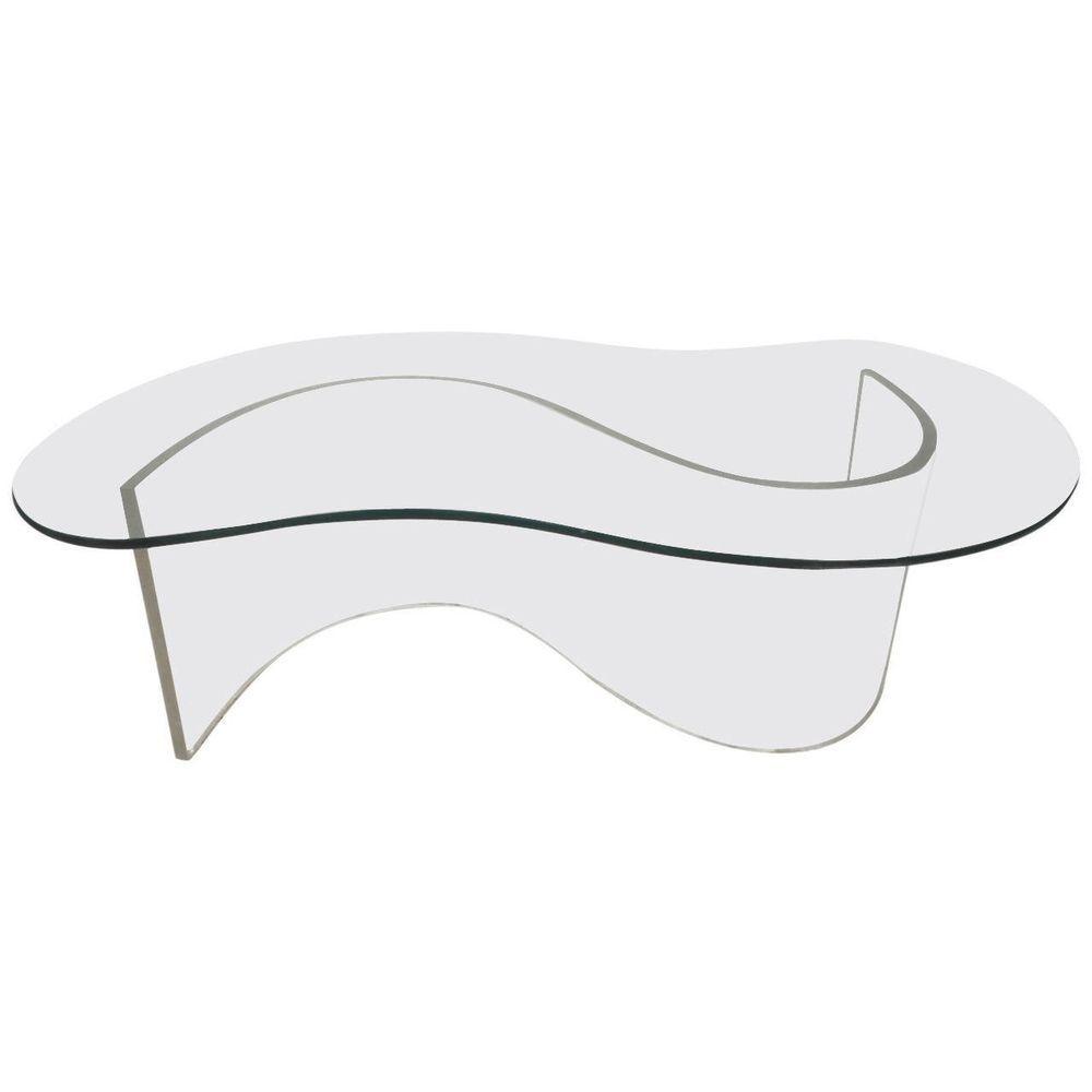 131b6c76da50 Mid Century Modern Lucite Coffee table Biomorphic Glass Top Style Vladimir  Kagan