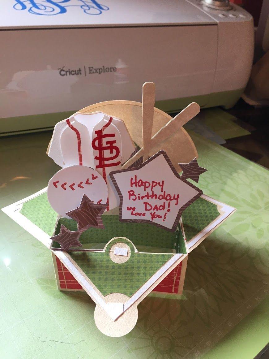 3D cardstock birthday baseball card Love dad, Birthday