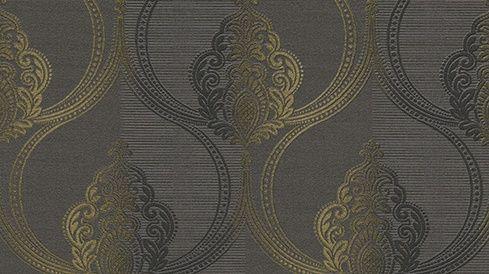 barok behang Erismann Serail grijs zwart goud 6803-15 | behangpapier ...