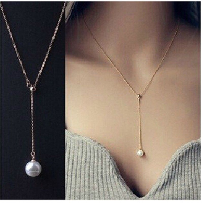 Gold//Silver Long Chain Lariat Drop Charm Bar Necklace Jewelry Pendant for Women