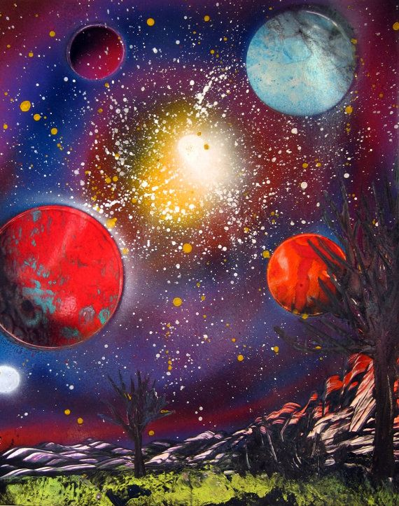 Spray Paint Art Space Galaxy Landscape Poster Painting 14 X