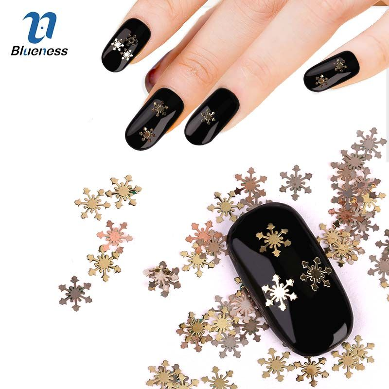 Gold Silver Metal 3D Christmas Decorations Nail Art Charms Snowflake ...