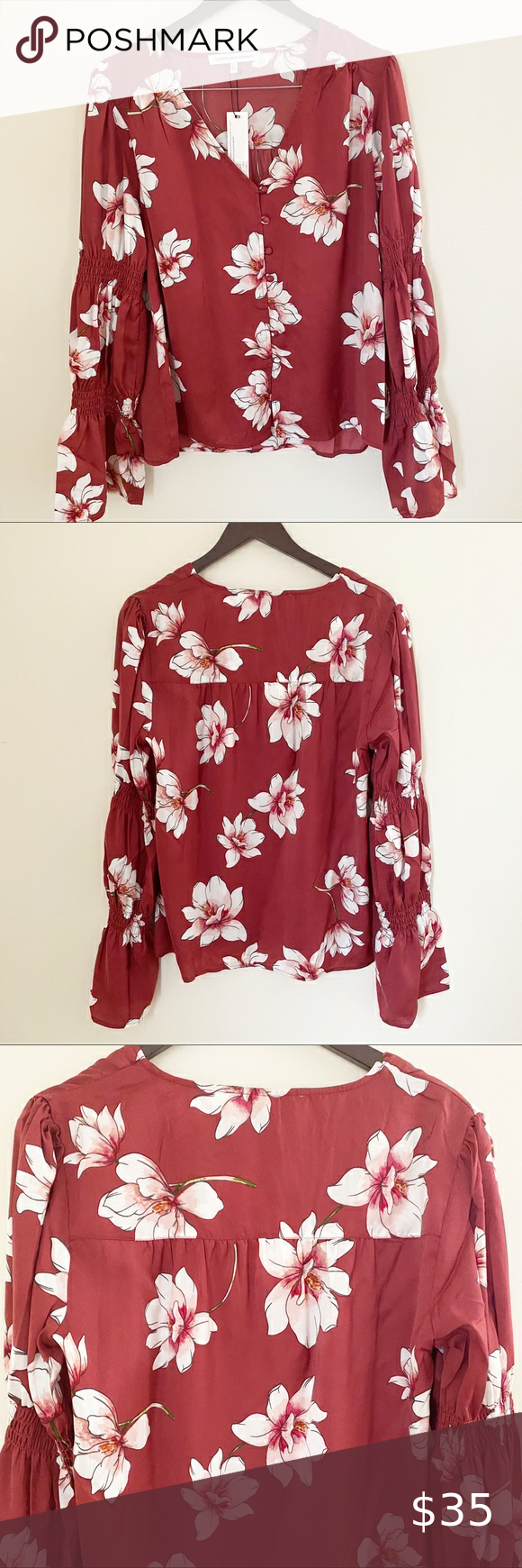 Nwt Cupcakes And Cashmere Floral Print Blouse Floral Print Blouses Printed Blouse Cupcakes And Cashmere [ 1740 x 580 Pixel ]