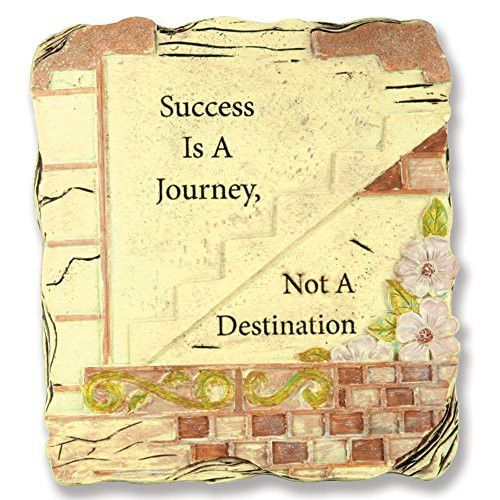 Success Is a Journey Not a Destination Inspirational Desktop Plaque Stone Weathered Distressed Rustic Decoration Pottery Art with Sayings and Quotes - Father's Day Gift - Polyresin Polystone Resin 5 Inch