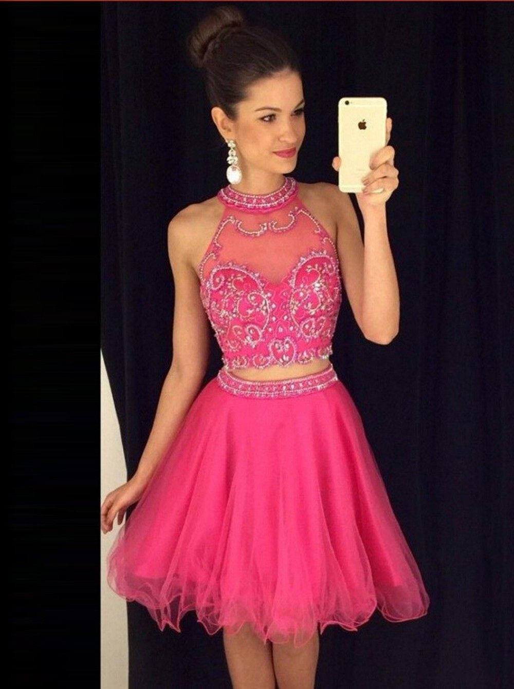 Pink dress hoco  Two Piece Aline Halter KneeLength Tulle Beaded Pink Prom