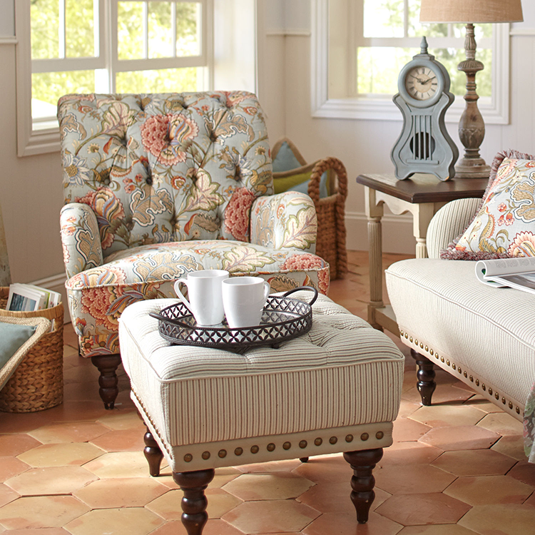 High Quality Chas Blue Floral Armchair