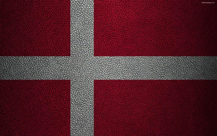 26e67968 Download wallpapers Flag of Denmark, 4k, leather texture, Danish flag,  Europe,