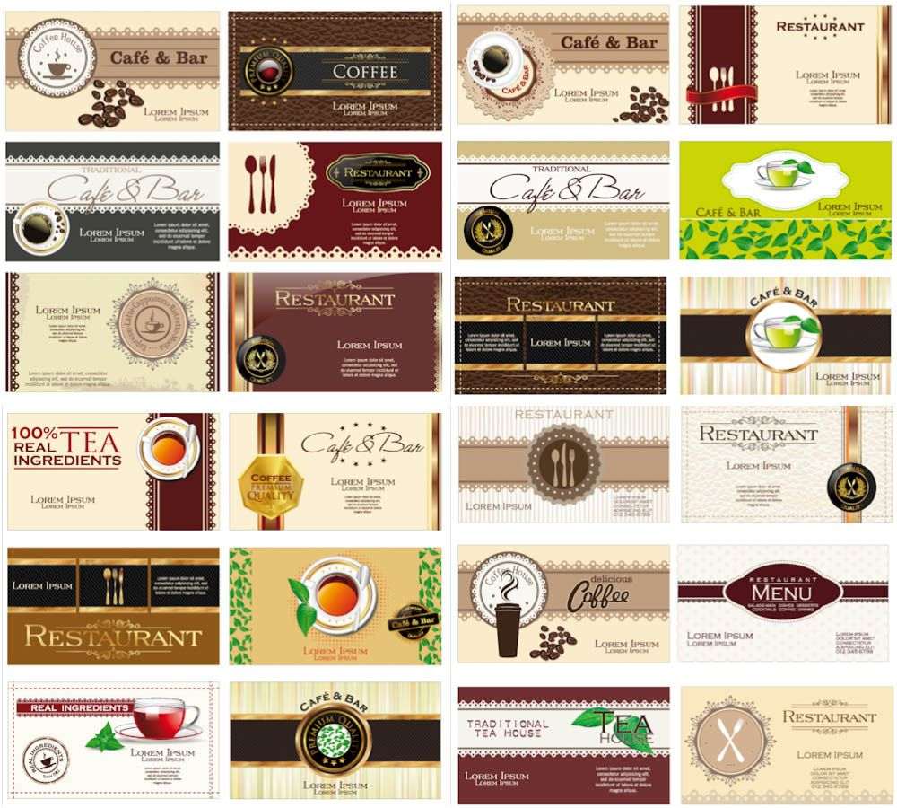 Business cards for cafe or restaurant vector coleccion pinterest business cards for cafe or restaurant vector reheart Choice Image