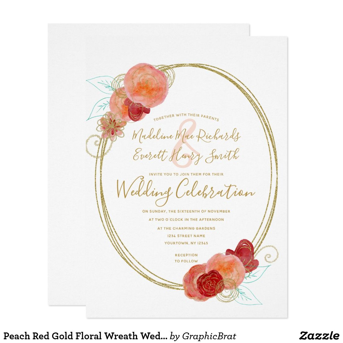 Peach Red Gold Floral Wreath Wedding Invitation | Wedding and Weddings
