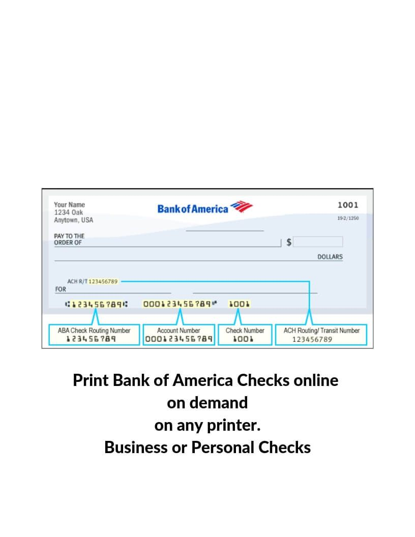 Bank Of America Checks Print Instantly Online On Demand On Any Printer Bank Of America Doctors Note America