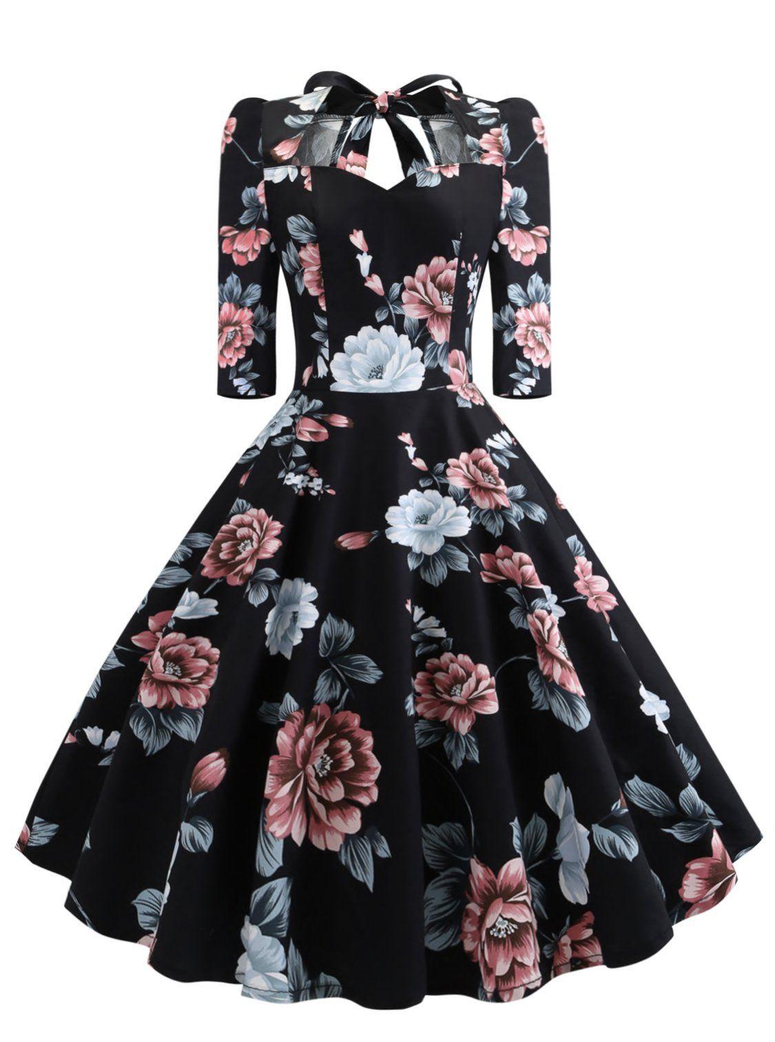Signora 50s Floral Bow Knot Dress ในปี 2019 ชุดเดรส