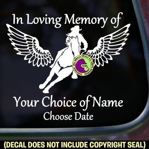 MEMORIAL Barrel Racing With Wings ADD CUSTOM WORDS Vinyl Decal - Custom barrel stickers
