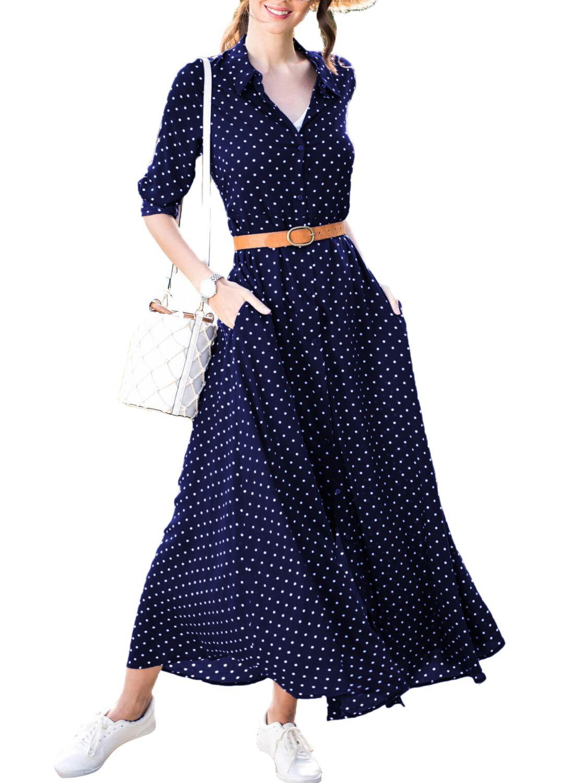 Navy Blue Polka Dot Button Down Maxi Dress Shirt Maxi Shirt Dress Dot Dress Outfit Maxi Dresses Casual [ 1500 x 1100 Pixel ]