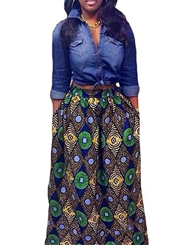 d89b1f29e5 VIGVOG Women's Ethnic Plus-Size African Print Pull-on Pleated Maxi A-line  Skirt