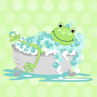 Frog In Bathtub Kids Shower Bathroom Art Art Print Frog Illustration Bathroom Art Canvas Art Prints