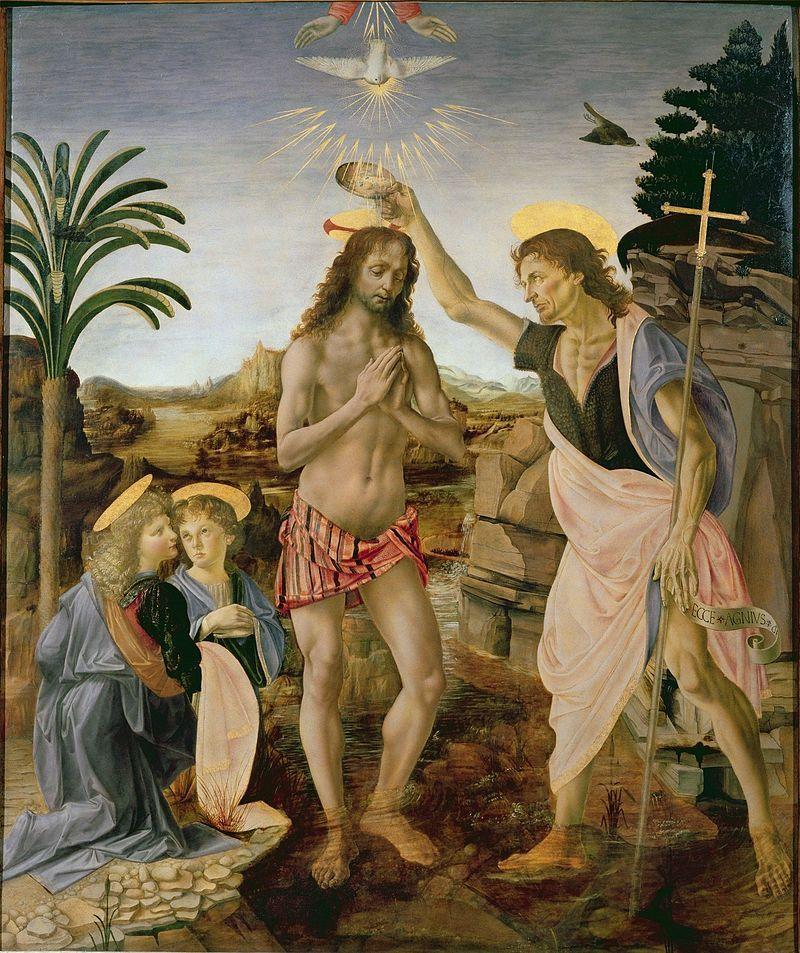 Le Baptême du Christ, par Andrea del Verrocchio & Leonardo da Vinci