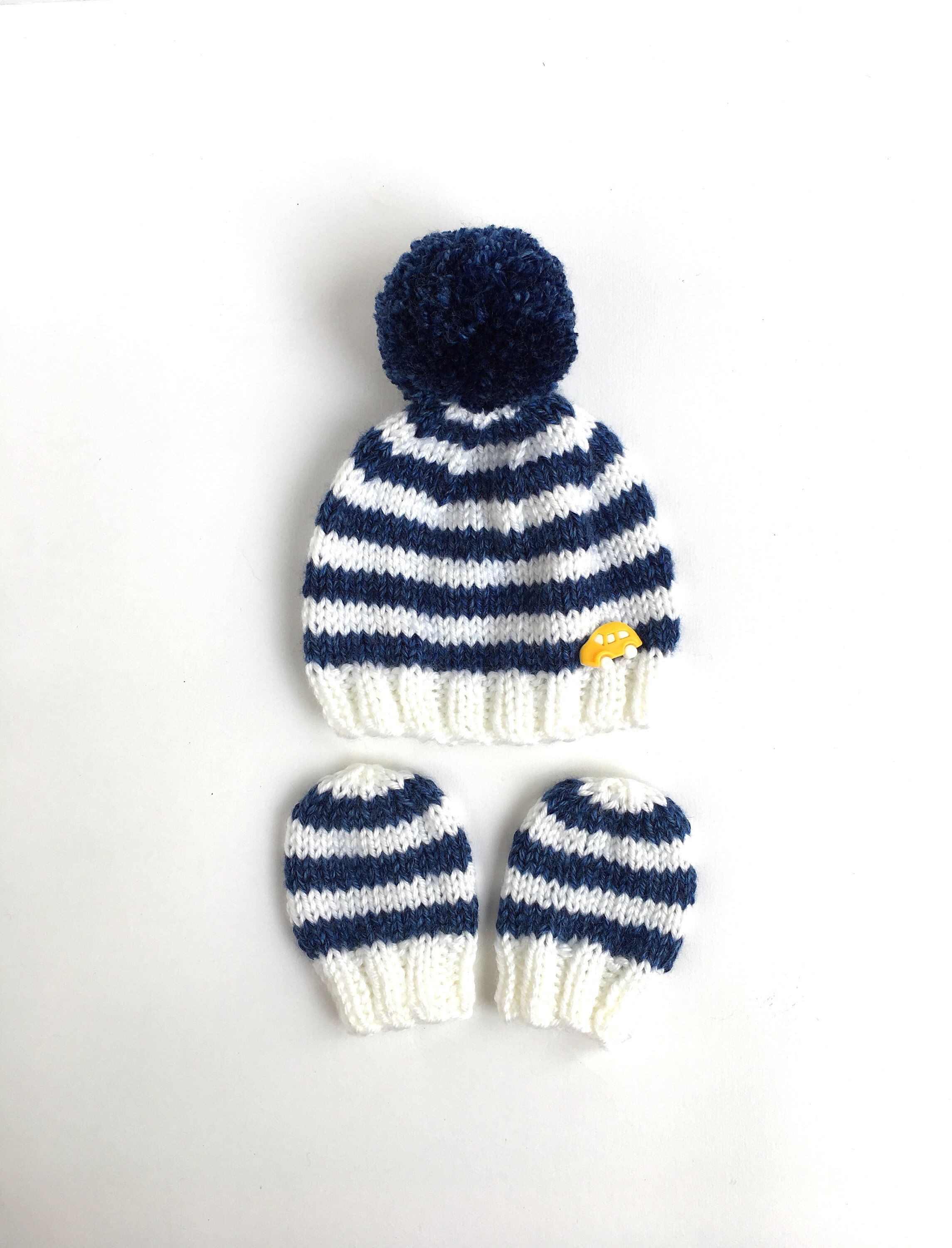 30e6fb8fb2b Striped blue and white baby boy beanie and mittens set with yellow car  button   knitted winter newborn beanie with mittens