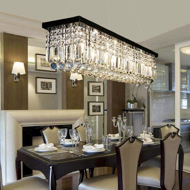 Black Chandelier Crystals Chandeliers 5 Light Dining Room ...